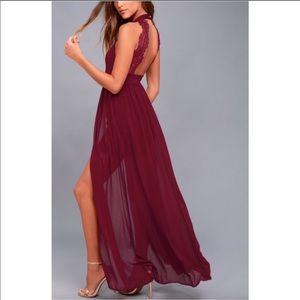 Lulus My Beloved Burgundy Wine lace maxi dress